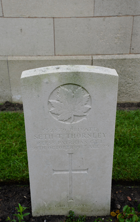 Grave Marker– Grave marker of Private Seth T. Thornley,
