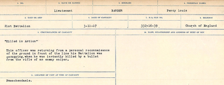Circumstances of Death Registers– Source: Library and Archives Canada.  CIRCUMSTANCES OF DEATH REGISTERS, FIRST WORLD WAR Surnames:  Babb to Barjarow. Microform Sequence 5; Volume Number 31829_B016715. Reference RG150, 1992-93/314, 149.  Page 975 of 1072