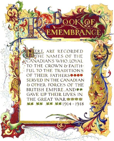 du Livre du Souvenir de la Première Guerre mondiale