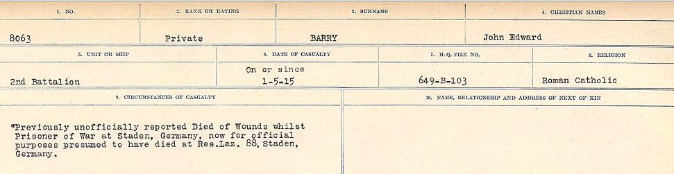 Circumstances of Death Registers– Source: Library and Archives Canada.  CIRCUMSTANCES OF DEATH REGISTERS, FIRST WORLD WAR Surnames:  Bark to Bazinet. Mircoform Sequence 6; Volume Number 31829_B016716. Reference RG150, 1992-93/314, 150.  Page 529 of 1058.