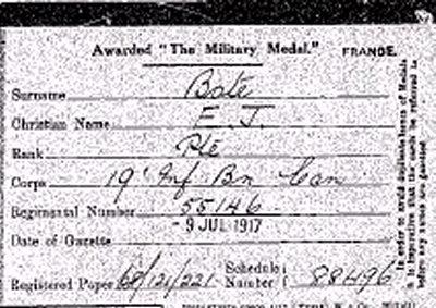 Miltary Medal Index Card