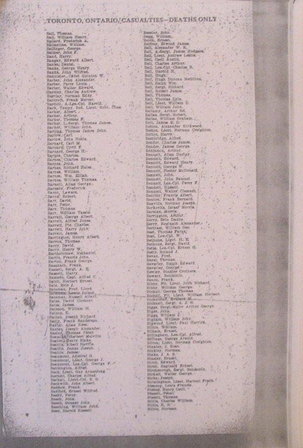 List of Casualities from Toronto, Ontario