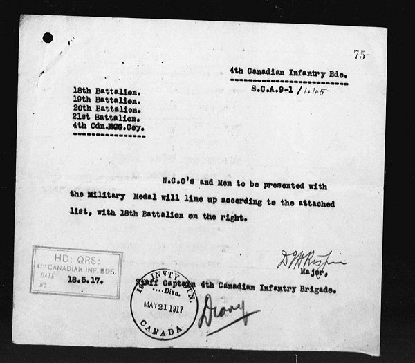 A War Diary Page taken from the Canadian War Diaries