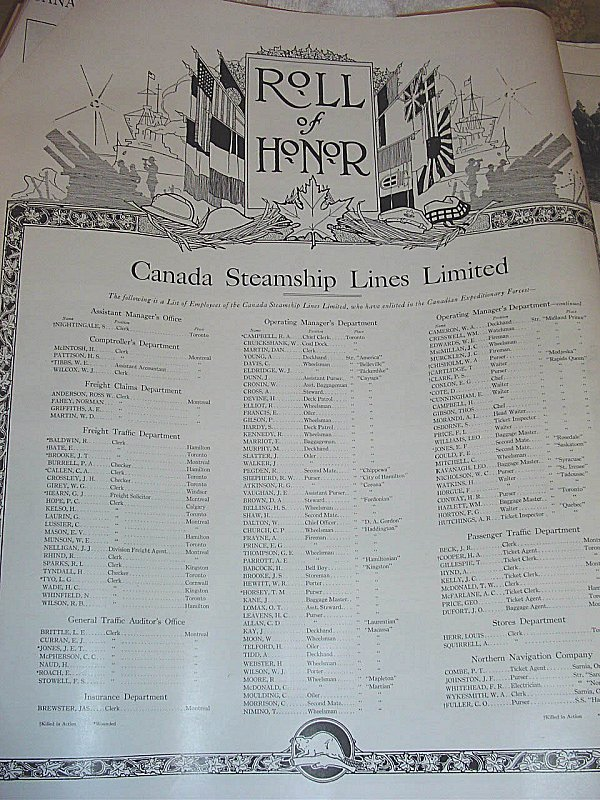 Canada Steamship Lines Limited Roll of Honour