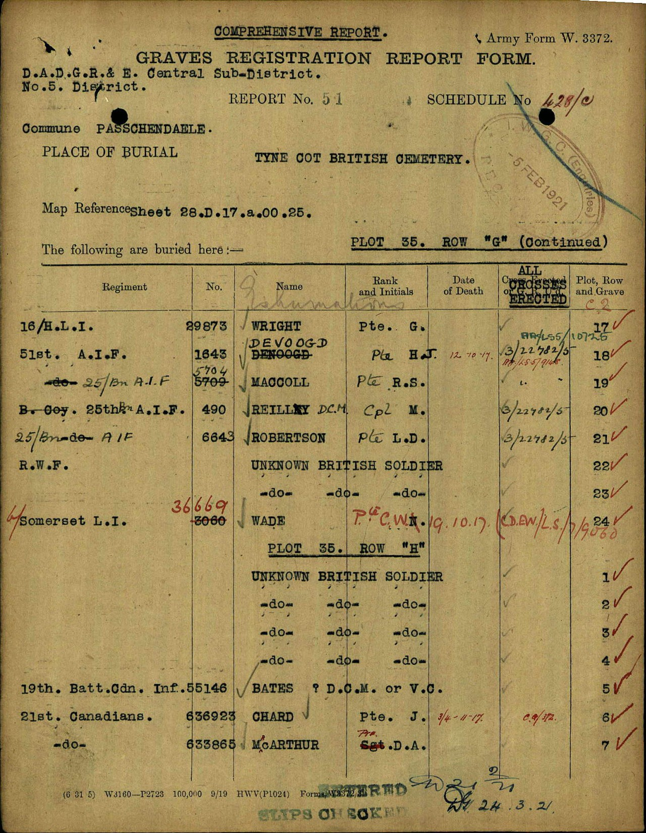 Document– Original GRRF with Incorrect Name and Medals
