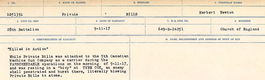 Circumstances of Death Registers– Source: Library and Archives Canada.  CIRCUMSTANCES OF DEATH REGISTERS FIRST WORLD WAR Surnames: Bernard to Binyon. Mircoform Sequence 9; Volume Number 31829_B016719; Reference RG150, 1992-93/314, 153 Page 567 of 652