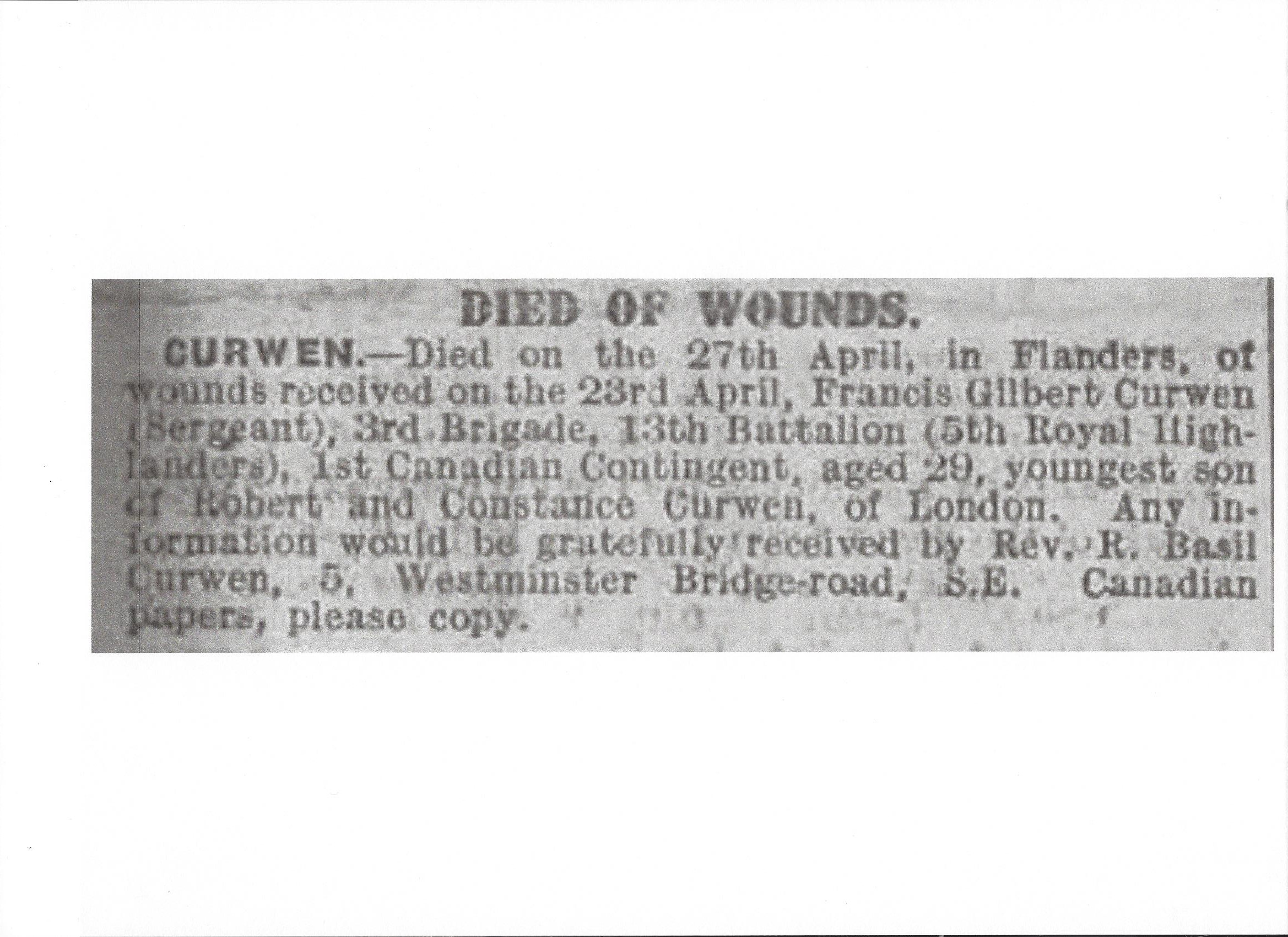 Newspaper Clipping– Newspaper clipping from the Daily Telegraph of July 5, 1915. Image taken from web address of http://www.telegraph.co.uk/news/ww1-archive/11720689/Daily-Telegraph-July-5-1915.html