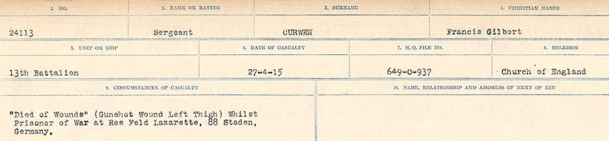 Circumstances of death registers– Source: Library and Archives Canada. CIRCUMSTANCES OF DEATH REGISTERS, FIRST WORLD WAR Surnames: Crossley to Cyrs. Microform Sequence 25; Volume Number 31829_B016734. Reference RG150, 1992-93/314, 169. Page 767 of 890. Originally buried in Staden German Cemetery, which contained the graves of 14 soldiers from the United Kingdom and 10 from Canada who fell in 1915-1917. Following the Armistice, the bodies of all of these soldiers were exhumed and re-interred in TYNE COT CEMETERY, Belgium.