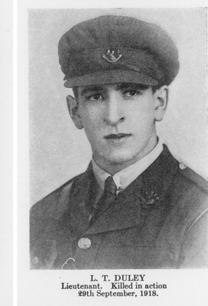 """Photo of Lionel Duley– From the book """"Letters From The Front 1914-1919"""" published by The Canadian Bank of Commerce."""