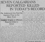 Newspaper clipping– The Calgary Daily Herald November 27, 1917