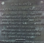 Memorial Plaque– Close up of the plaque on the Norsworthy cenotaph in the Rural Cemetery in Ingersoll, Ontario.
