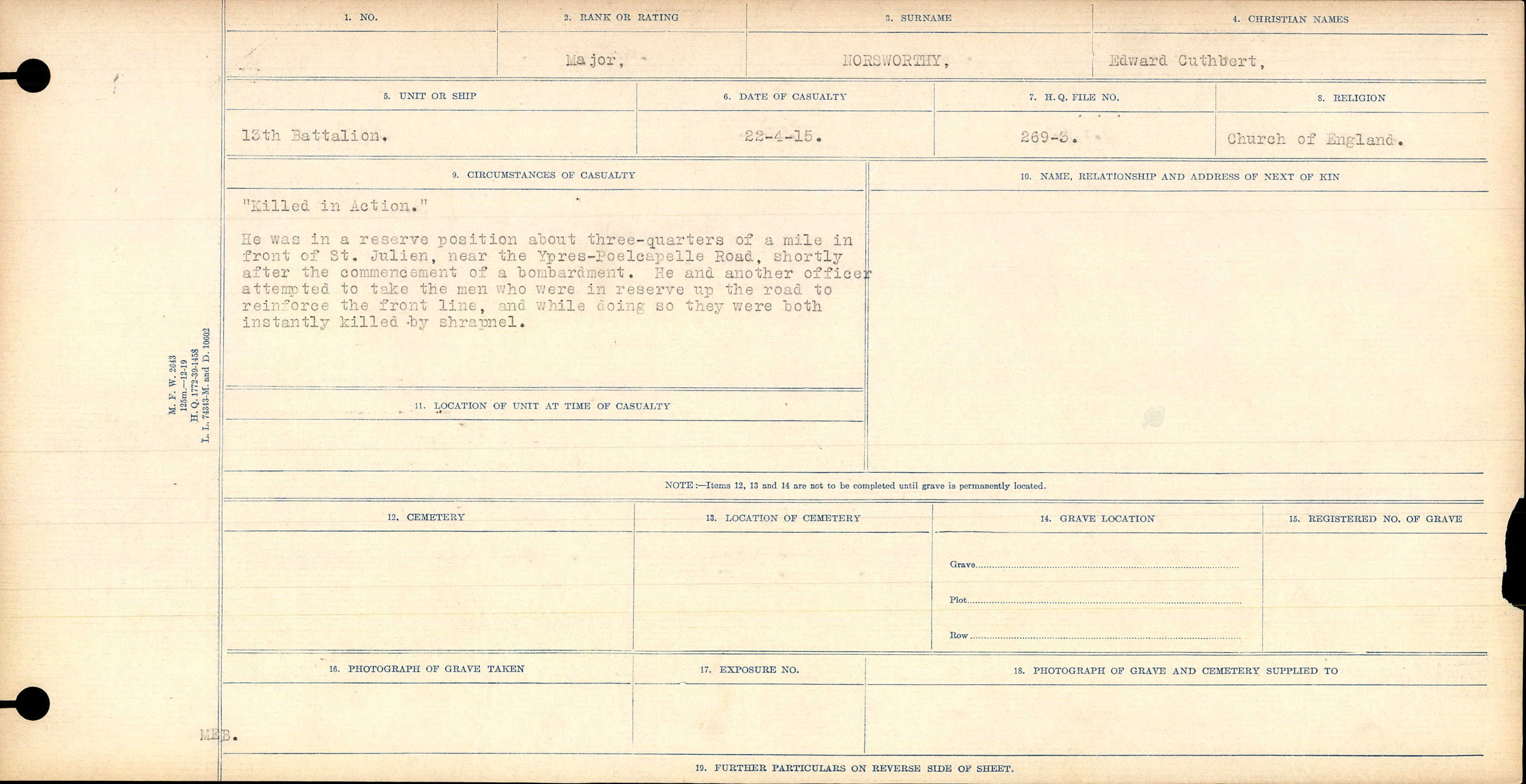 """Circumstances of Death Registers– Report on the death of Major Edward Cuthbert Norsworthy on 22 April 1915, as detailed in the """"Circumstances of Casualty""""."""