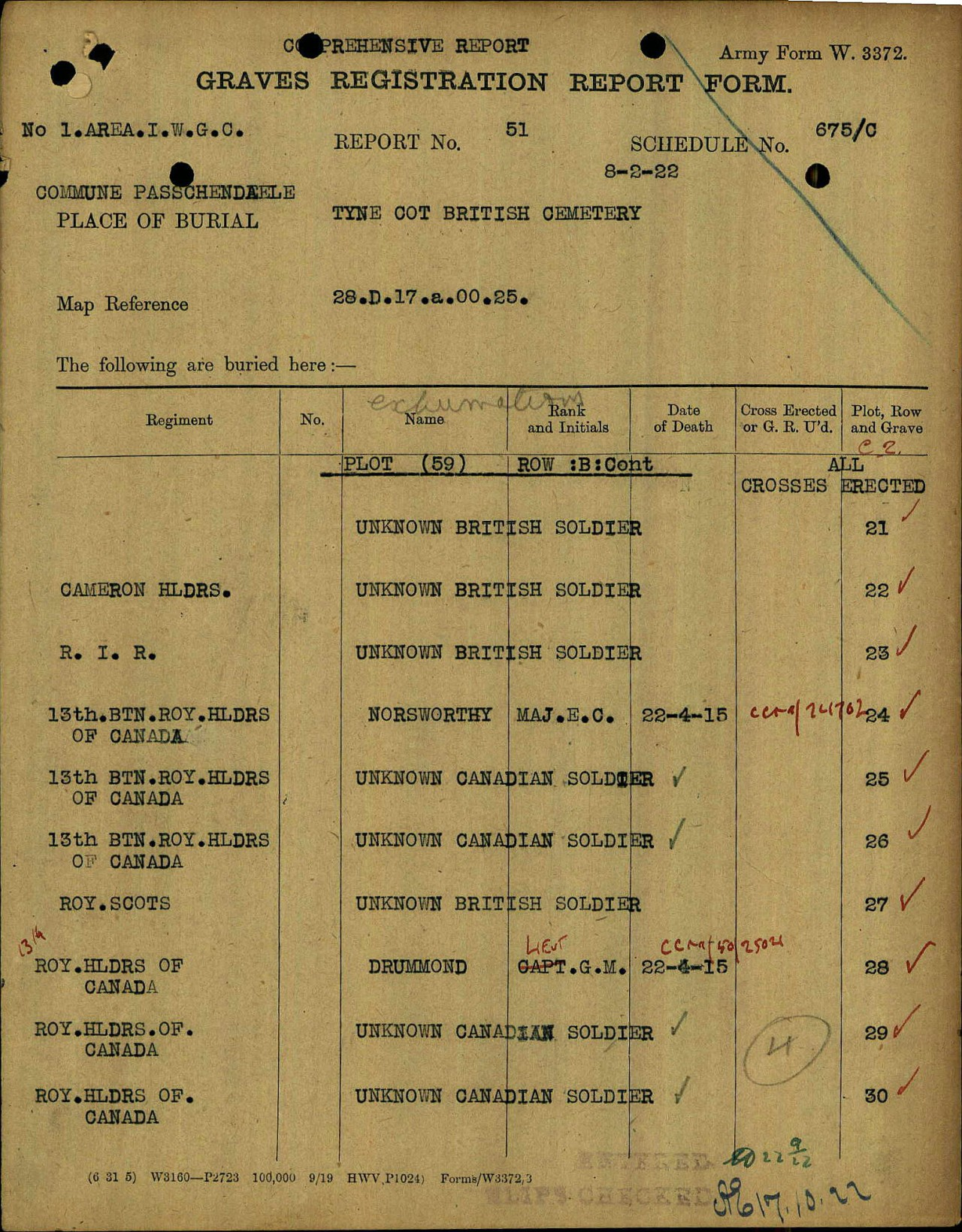 Grave Registration Report– The CWGC Graves Registration Report Form (GRRF) shows that Major Norsworthy is buried in Plot 59 Row B Grave 24 of the Tyne Cot (British) Cemetery. Five (5) other men of the 13th Battalion are listed on the same page. The GRRF was prepared on the basis of the identification noted on the COG-BR (see other image).