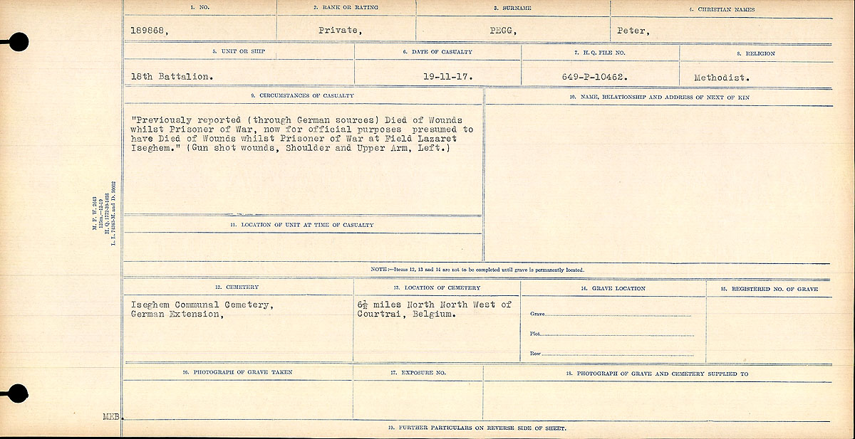 """Circumstances of Death Registers– Circumstances of Death Register: """"Previously reported (through German sources) Died of Wounds whilst Prisoner of War, now for official purposes presumed to have Died of Wounds whilst Prisoner of War at Field Lazaret Iseghem."""" (Gunshot wounds, Shoulder and Upper Arm, Left.)"""