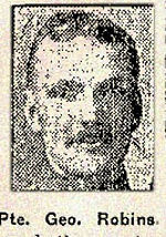 Newspaper clipping– Pte. George Robins was born in Nottingham, England.  He enlisted in the 124th Battalion in Toronto in January 1916.