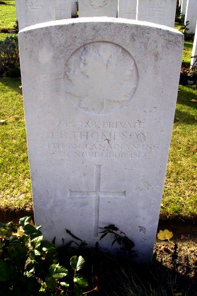 Grave Marker– Tyne Cot Cemetery … photo courtesy of Marg Liessens