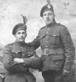 Photo of Norman Bagnell Thorneycroft– Norman Bagnell Thorneycroft (L) and Max Harris (R).  Max and Norman were step-brothers and best friends.  Max was killed at Vimy and Norman at Passchendaele.