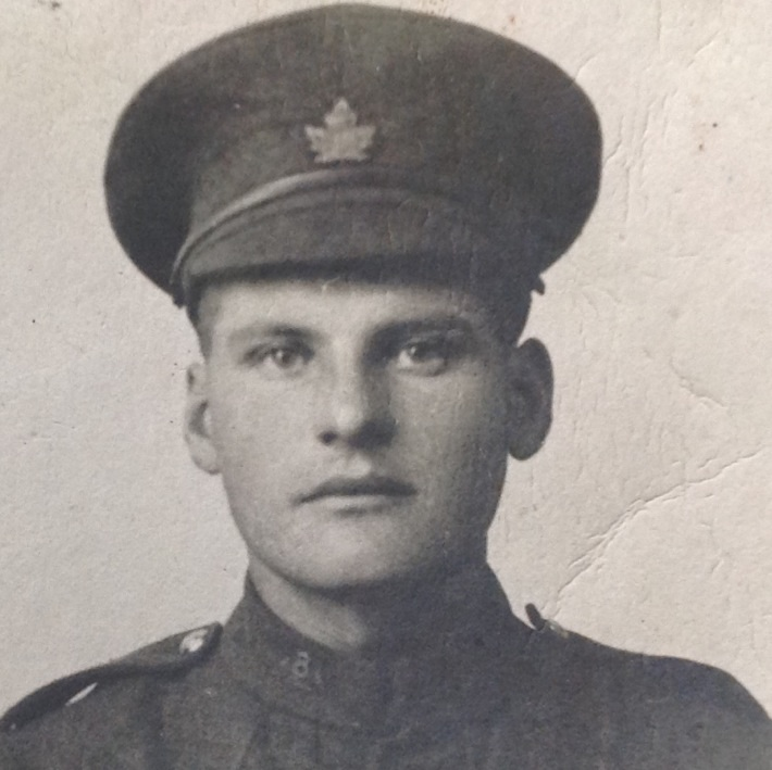 Photo of Allan Thrasher– Allan thrasher photo taken in Ontario after he enlisted before he shipped out