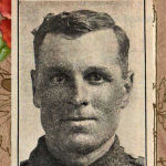 """Photo of Roy Elmer Baker– Source: Portraits of 28 Woodstock New Brunswick men who died during the First World War were published in the """"All Woodstock Number"""" of the August 1922 issue of """"The Busy East of Canada"""" (Vol. 13, No. 1).  This section was captioned:  """"Woodstock Boys, Who Made the Supreme Sacrifice in the Great War"""".  Retouching:  M. I. Pirie, 2011."""