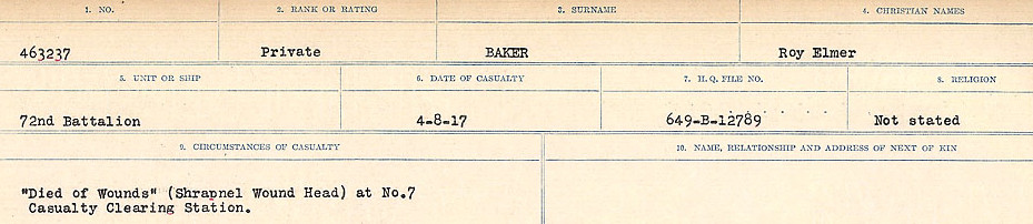 Circumstances of Death Registers– Source: Library and Archives Canada.  CIRCUMSANCES OF DEATH REGISTERS, FIRST WORLD WAR Surnames:  Babb to Barjarow. Microform Sequence 5; Volume Number 31829_B016715. Reference RG150, 1992-93/314, 149.  Page 527 of 1072.