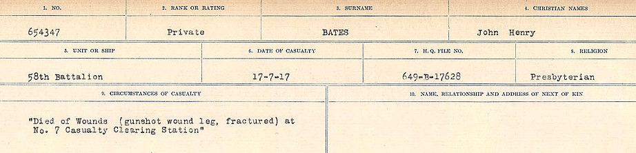 Circumstances of Death Registers– Source: Library and Archives Canada.  CIRCUMSTANCES OF DEATH REGISTERS, FIRST WORLD WAR Surnames:  Bark to Bazinet. Mircoform Sequence 6; Volume Number 31829_B016716. Reference RG150, 1992-93/314, 150.  Page 851 of 1058.