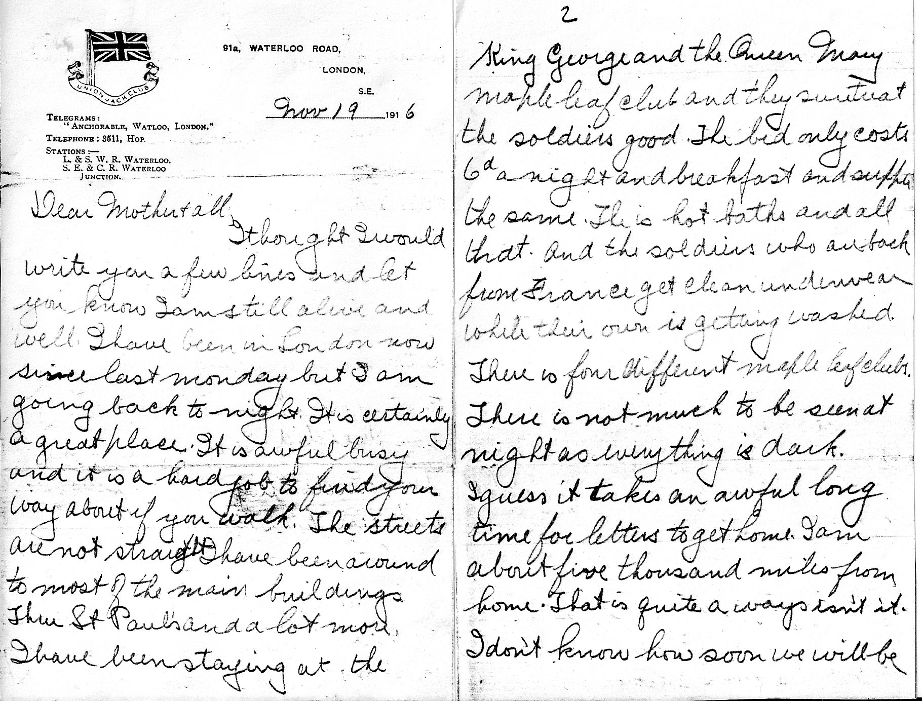 Letter– Page 1 and 2 of a four page letter sent by Pvt AC (Crombie) Bellamy to his Mother and family November 19 1916 from London prior to going to the Front.