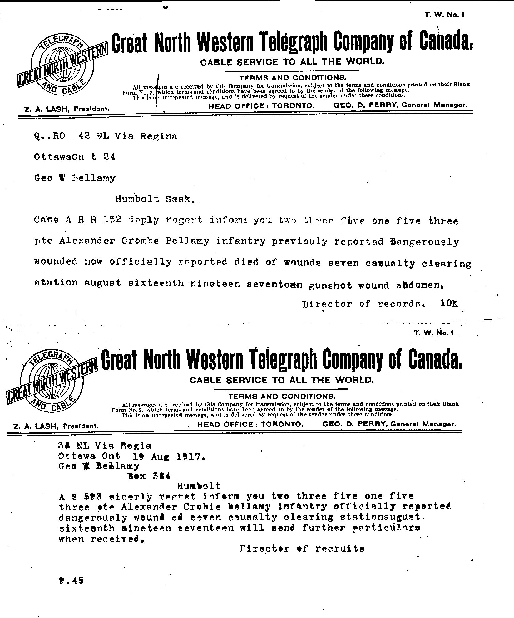 Telegram– Copies of telegrams received by Private Alexander Crombie Bellamy's family, 1) notifying them he had been wounded; 2) notifying them he had died from his wounds.