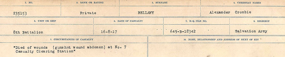 Circumstances of Death– Source: Library and Archives Canada.  CIRCUMSTANCES OF DEATH REGISTERS FIRST WORLD WAR Surnames:  Bell to Bernaquez.  Mircoform Sequence 8; Volume Number 31829_B016718; Reference RG150, 1992-93/314, 152 Page 243 of 670.