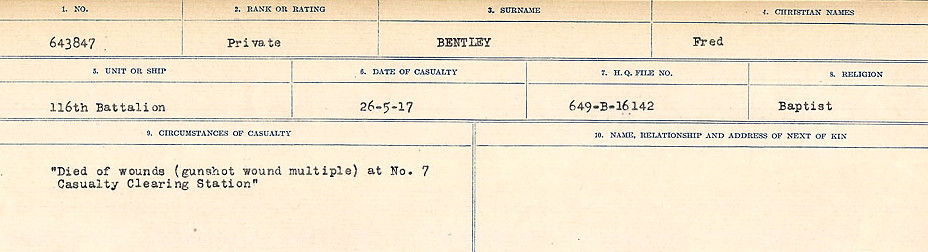 Circumstances of Death– Source: Library and Archives Canada.  CIRCUMSTANCES OF DEATH REGISTERS FIRST WORLD WAR Surnames:  Bell to Bernaquez.  Mircoform Sequence 8; Volume Number 31829_B016718; Reference RG150, 1992-93/314, 152 Page 585 of 670