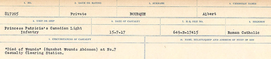 Circumstances of Death Registers– Source: Library and Archives Canada.  CIRCUMSTANCES OF DEATH REGISTERS FIRST WORLD WAR Surnames: Border to Boys. Mircoform Sequence 12; Volume Number 131829_B016721; Reference RG150, 1992-93/314, 156 Page 373 of 934
