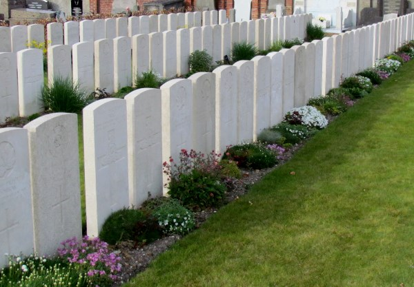 Cemetery– W J Bunclark and comrades, Noeux-les-Mines Communal Cemetery, France, Photo by Ken Riley