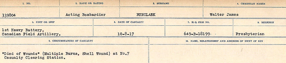 Circumstances of Death Registers– Source: Library and Archives Canada.  CIRCUMSTANCES OF DEATH REGISTERS FIRST WORLD WAR Surnames: Brubacher to Bunyan. Mircoform Sequence 15; Volume Number 31829_B016724; Reference RG150, 1992-93/314, 159 Page 605 of 668