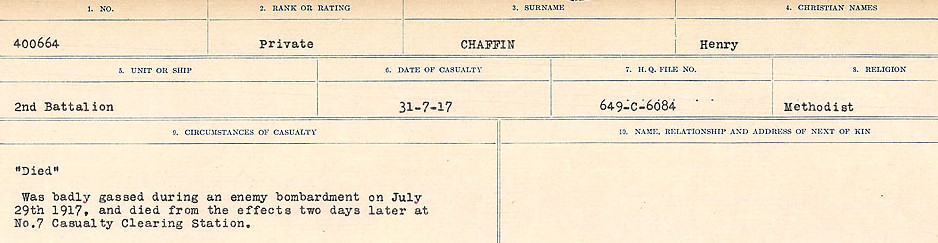 Circumstances of Death Registers– Source: Library and Archives Canada.  CIRCUMSTANCES OF DEATH REGISTERS, FIRST WORLD WAR Surnames:  CATCHPOLE TO CHIGNELL. Microform Sequence 19; Volume Number 31829_B016728. Reference RG150, 1992-93/314, 165. Page 203 of 958.