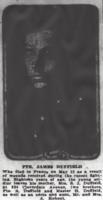 Photo of JAMES DUFFIELD– From the Daily Colonist of June 3, 1917. His brother Archibald Duffield was killed on June 6, 1917 and is buried at La Chaudiere Military Cemetery in France. Image taken from web address of http://archive.org/stream/dailycolonist59y151uvic#page/n0/mode/1up