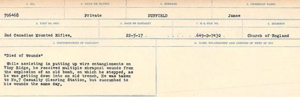 Circumstances of death registers– Source: Library and Archives Canada. CIRCUMSTANCES OF DEATH REGISTERS, FIRST WORLD WAR. Surnames: Duane to Dzhobiewski. Microform Sequence 30; Volume Number 31829_B016739. Reference RG150, 1992-93/314, 174 Page 177 of 1062.