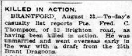 Newspaper clipping– From the London Free Press August 1917. Submitted for the project Operation Picture Me