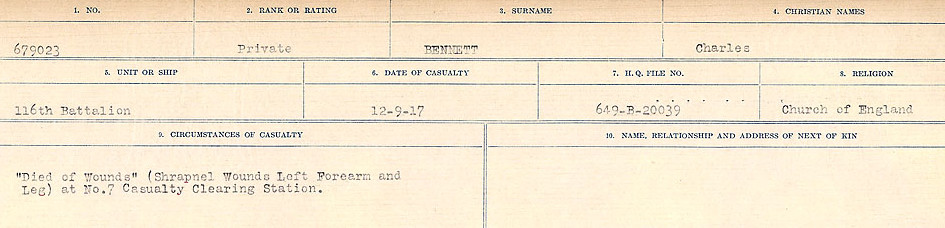 Circumstances of Death Registers– Source: Library and Archives Canada.  CIRCUMSTANCES OF DEATH REGISTERS FIRST WORLD WAR Surnames:  Bell to Bernaquez.  Mircoform Sequence 8; Volume Number 31829_B016718; Reference RG150, 1992-93/314, 152 Page 393 of 670