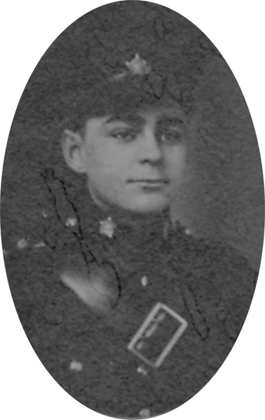 Photo of DALTON BAILEY– From a collage photo layout of members of A Company and the bugle band of the 157th Canadian Infantry Battalion.