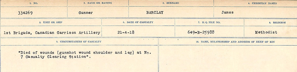 Circumstances of Death Registers– Source: Library and Archives Canada.  CIRCUMSTANCES OF DEATH REGISTERS, FIRST WORLD WAR Surnames:  Babb to Barjarow. Microform Sequence 5; Volume Number 31829_B016715. Reference RG150, 1992-93/314, 149.  Page 1005 of 1072