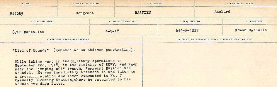 Circumstances of Death– Source: Library and Archives Canada.  CIRCUMSTANCES OF DEATH REGISTERS, FIRST WORLD WAR Surnames:  Bark to Bazinet. Mircoform Sequence 6; Volume Number 31829_B016716. Reference RG150, 1992-93/314, 150.  Page 745 of 1058.