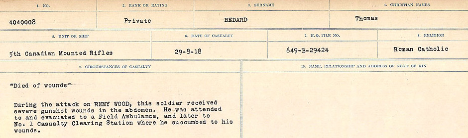 Circumstances of Death Registers– Source: Library and Archives Canada.  CIRCUMSTANCES OF DEATH REGISTERS FIRST WORLD WAR Surnames:  Bea to Belisle. Mircoform Sequence 7; Volume Number 31829_B016717. Reference RG150, 1992-93/314, 151.  Page 481 of 724.
