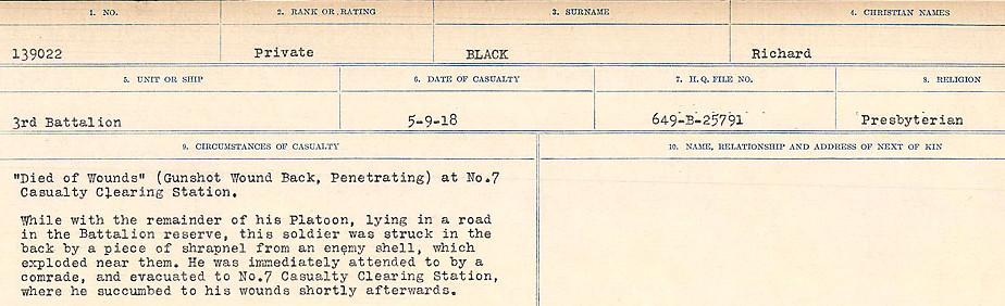 Death Registry– Source: Library and Archives Canada.  CIRCUMSTANCES OF DEATH REGISTERS FIRST WORLD WAR Surnames: Birch to Blakstad. Mircoform Sequence 10; Volume Number 31829_B034746; Reference RG150, 1992-93/314, 154 Page 389 of 734