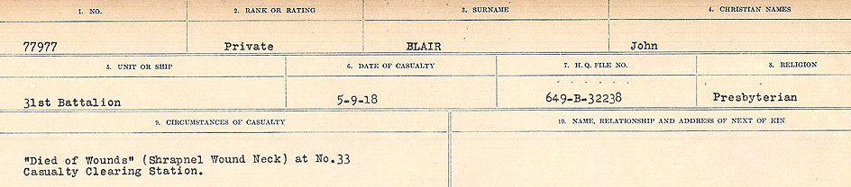 Circumstances of Death Registers– Source: Library and Archives Canada.  CIRCUMSTANCES OF DEATH REGISTERS FIRST WORLD WAR Surnames: Birch to Blakstad. Mircoform Sequence 10; Volume Number 31829_B034746; Reference RG150, 1992-93/314, 154 Page 607 of 734