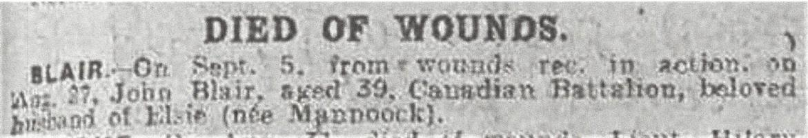 Newspaper clipping– From the Daily Telegraph of September 13, 1918. Image taken from web address of https://www.telegraph.co.uk/news/ww1-archive/12215512/Daily-Telegraph-September-13-1918.html