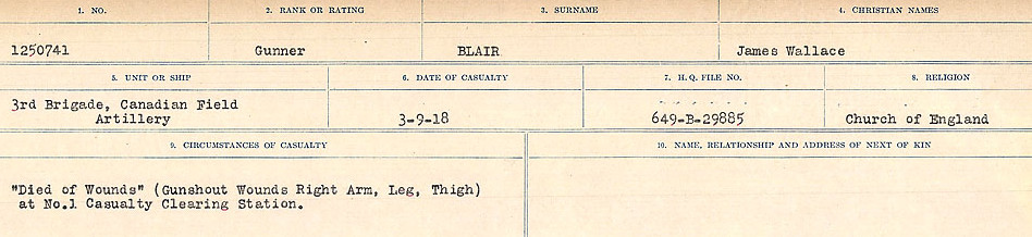 Circumstances of Death Registers– Source: Library and Archives Canada.  CIRCUMSTANCES OF DEATH REGISTERS FIRST WORLD WAR Surnames: Birch to Blakstad. Mircoform Sequence 10; Volume Number 31829_B034746; Reference RG150, 1992-93/314, 154 Page 603 of 734