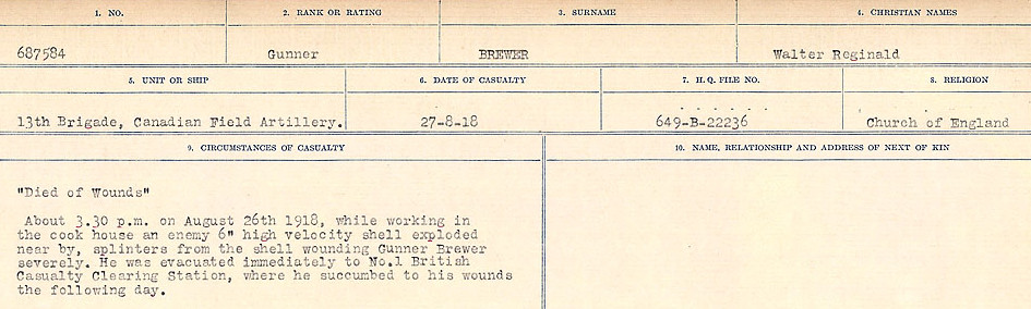 Death notice– Source: Library and Archives Canada.  CIRCUMSTANCES OF DEATH REGISTERS FIRST WORLD WAR Surnames: Brabant to Britton. Mircoform Sequence 13; Volume Number 131829_B016722; Reference RG150, 1992-93/314, 157 Page 579 of 906