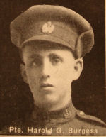 Photo of Harold Burgess– In memory of the men and women from the Waterloo area who went to war and did not come home. From the booklet, Peace Souvenir – Activities of Waterloo County in the Great War 1914 – 1918. From the Toronto Public Library collection.  Submitted for the project, Operation: Picture Me.