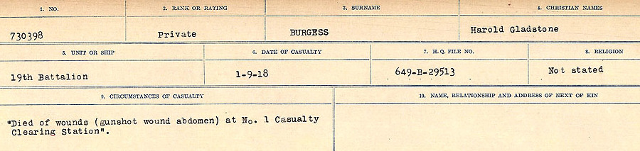 Circumstances of Death Registers– Source: Library and Archives Canada.  CIRCUMSTANCES OF DEATH REGISTERS, FIRST WORLD WAR Surnames:  Burbank to Bytheway. Microform Sequence 16; Volume Number 31829_B016725. Reference RG150, 1992-93/314, 160.  Page 123 of 926.