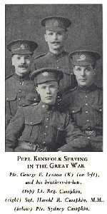 """Group Photo– Lt. Reginald Campkin is shown at the top of this group photo.  Three of the four men in this photograph died in the war - Pte. George E. Lenton died at Vimy Ridge, and Pte. Sidney B. Campkin died at Passchendaele.  Source: William Perkins Bull. """"From Brock to Currie: the military development and exploits of Canadians in general and of the men of Peel in particular, 1791 to 1930.""""  Toronto 1935, pg. 429."""