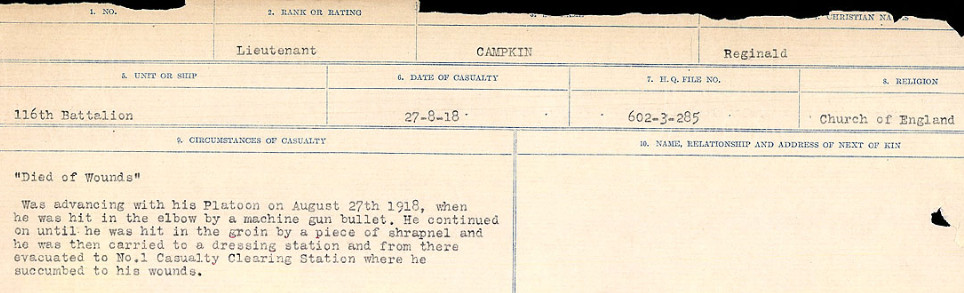Circumstances of Death Registers– Source: Library and Archives Canada.  CIRCUMSTANCES OF DEATH REGISTERS, FIRST WORLD WAR Surnames:  Cabana to Campling. Microform Sequence 17; Volume Number 31829_B016726. Reference RG150, 1992-93/314, 161.  Page 1019 of 1024